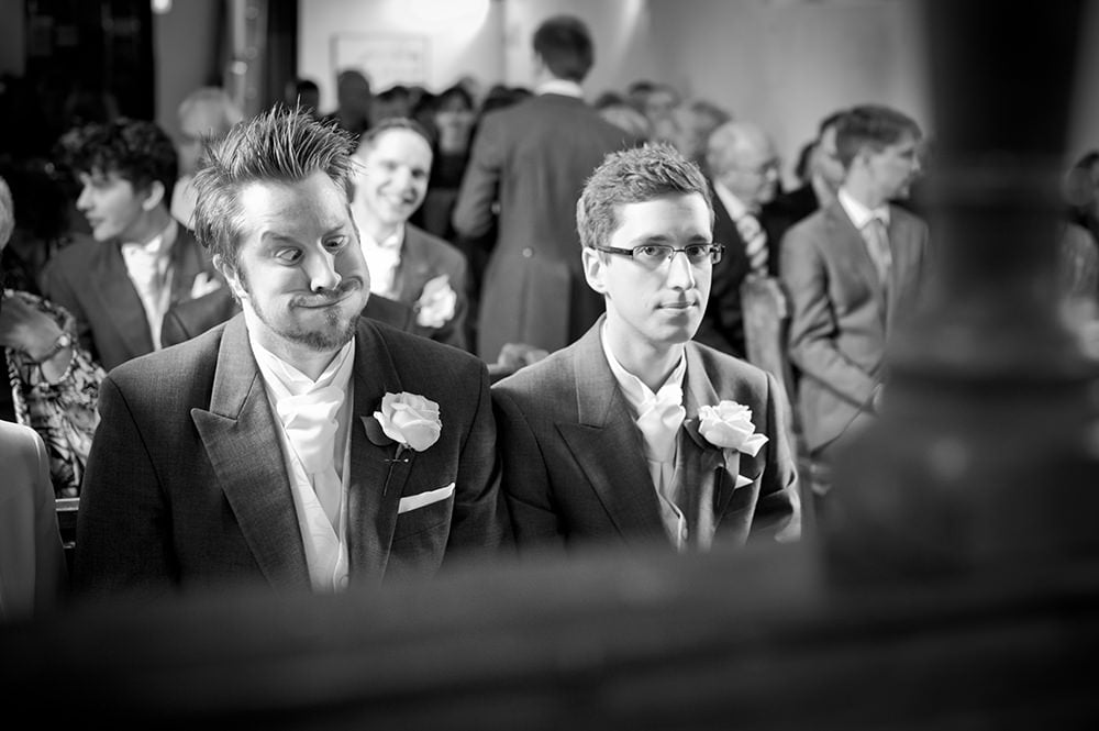 Nervous groom and funny best man at Hampshire Wedding