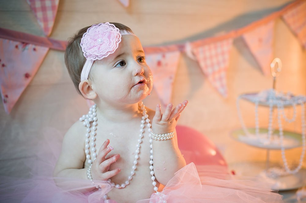 1st Birthday Pink Cake Smash by Rachel Elizabeth Photography