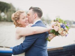 Bride and Groom at Eling Quay after wedding ceremony at St Marys Church