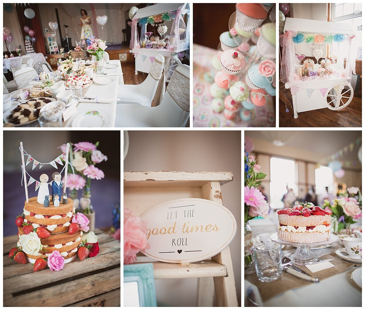 Photographs of vintage afternoon tea wedding reception at Emery Down Village Hall Wedding