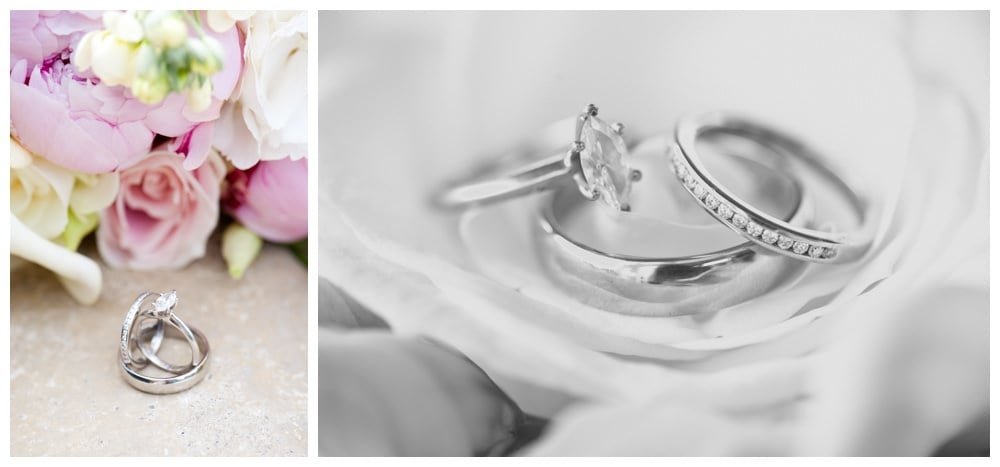 Wedding rings with bouquet by Jennifer Poynter Flowers