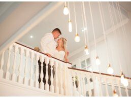 Bride and Groom by lights at Balmer Lawn Hotel