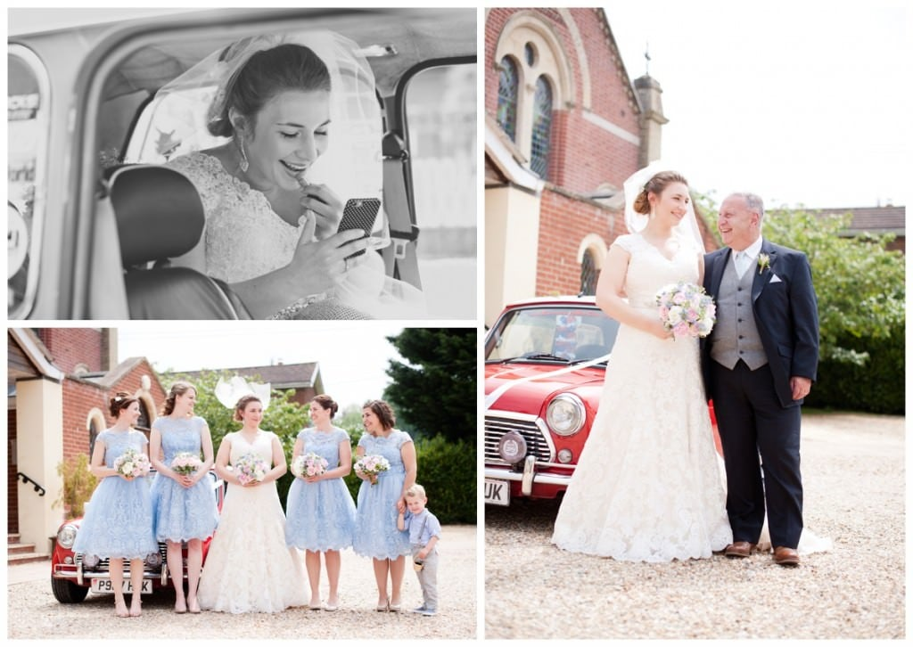 Bride with dad and bridesmaids by Mini at Alderholt Church