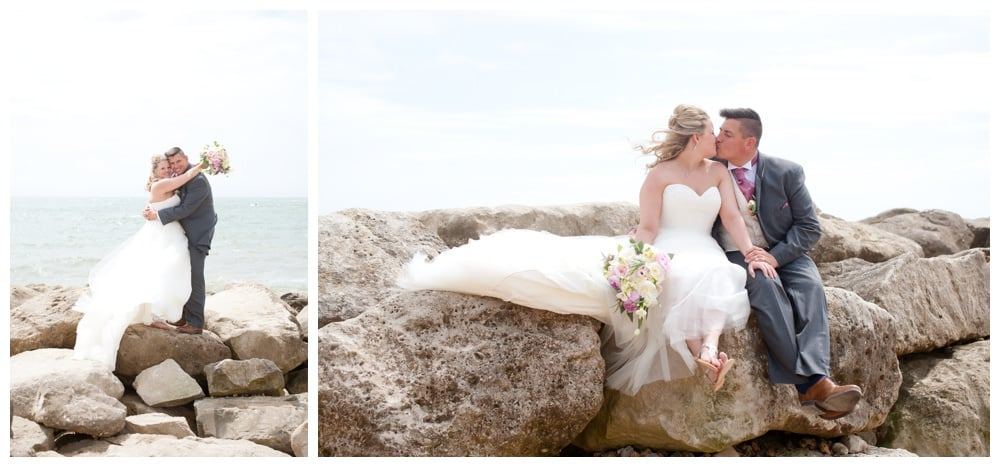 Bride and groom at Highcliffe Beach