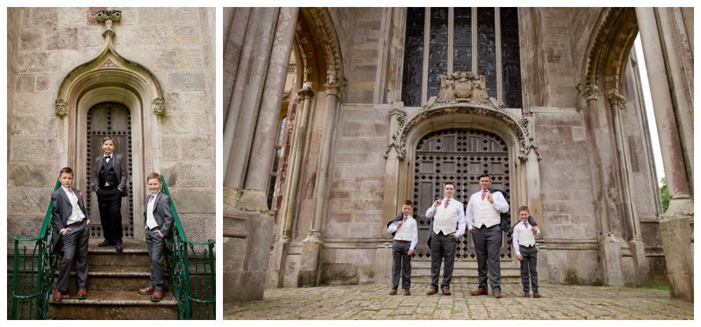 Photographs of Groom, Best Man and Ushers at Highcliffe Castle