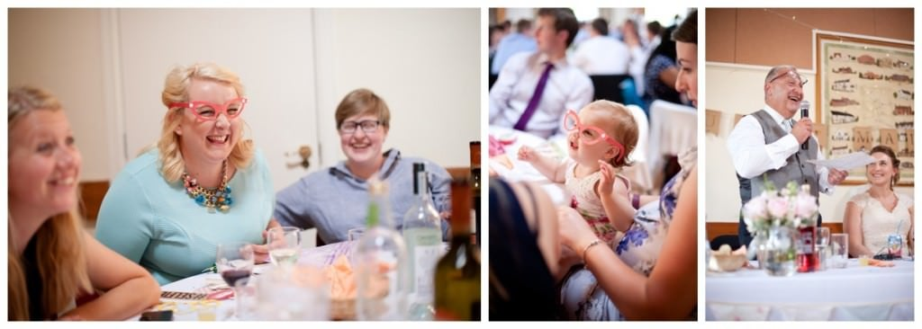 Speeches and reception fun at Damerham Village Hall