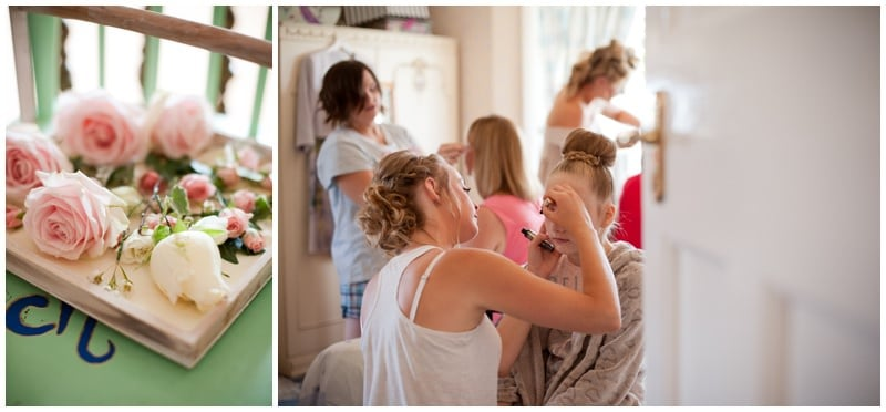 Buttonholes and Bridesmaids make-up at family home in Ringwood