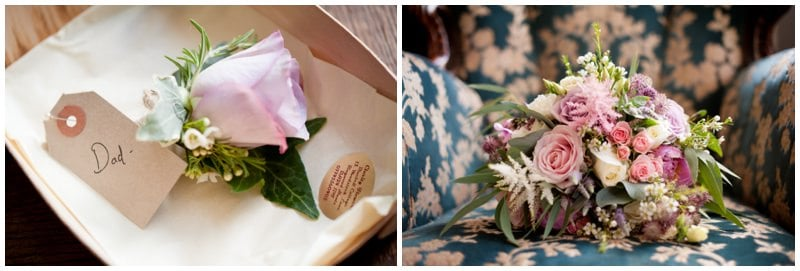 Bride's bouquet and Dad's buttonhole at family home in Ringwood