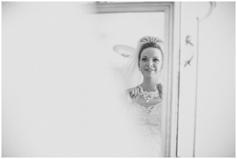 Reflection portrait of Bride at Ringwood family home