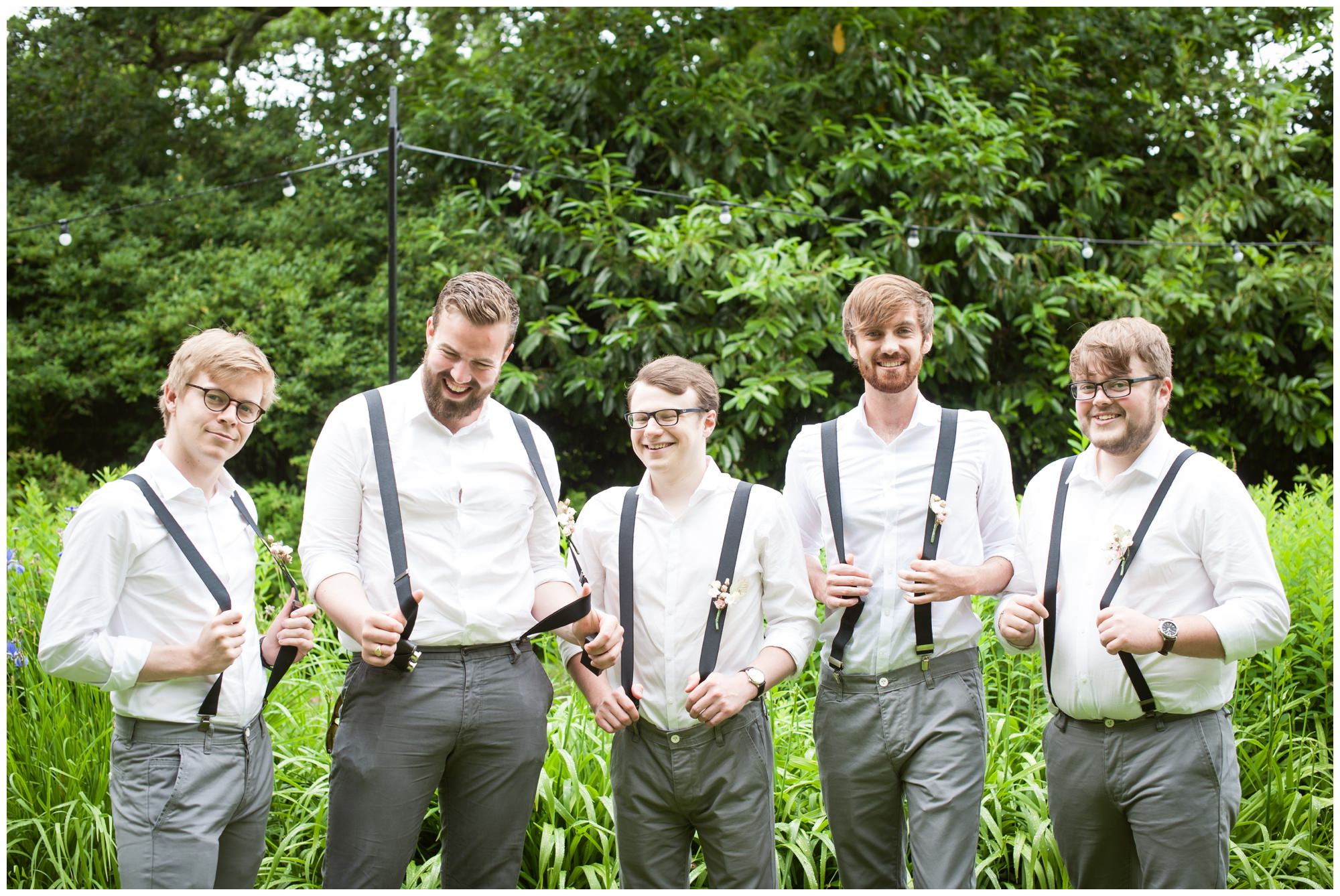 Groomsmen with braces at The Old Vicarage