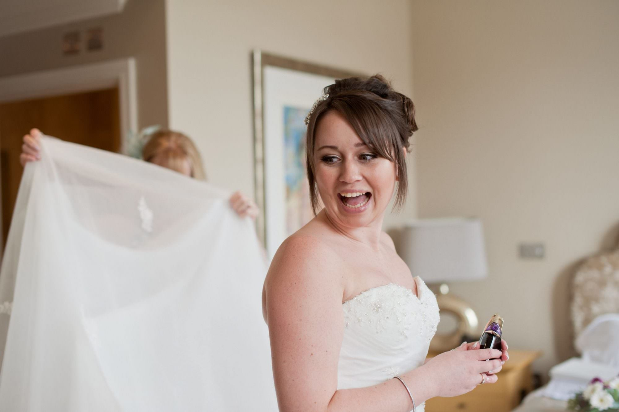 Bournemouth Bride in strapless wedding gown