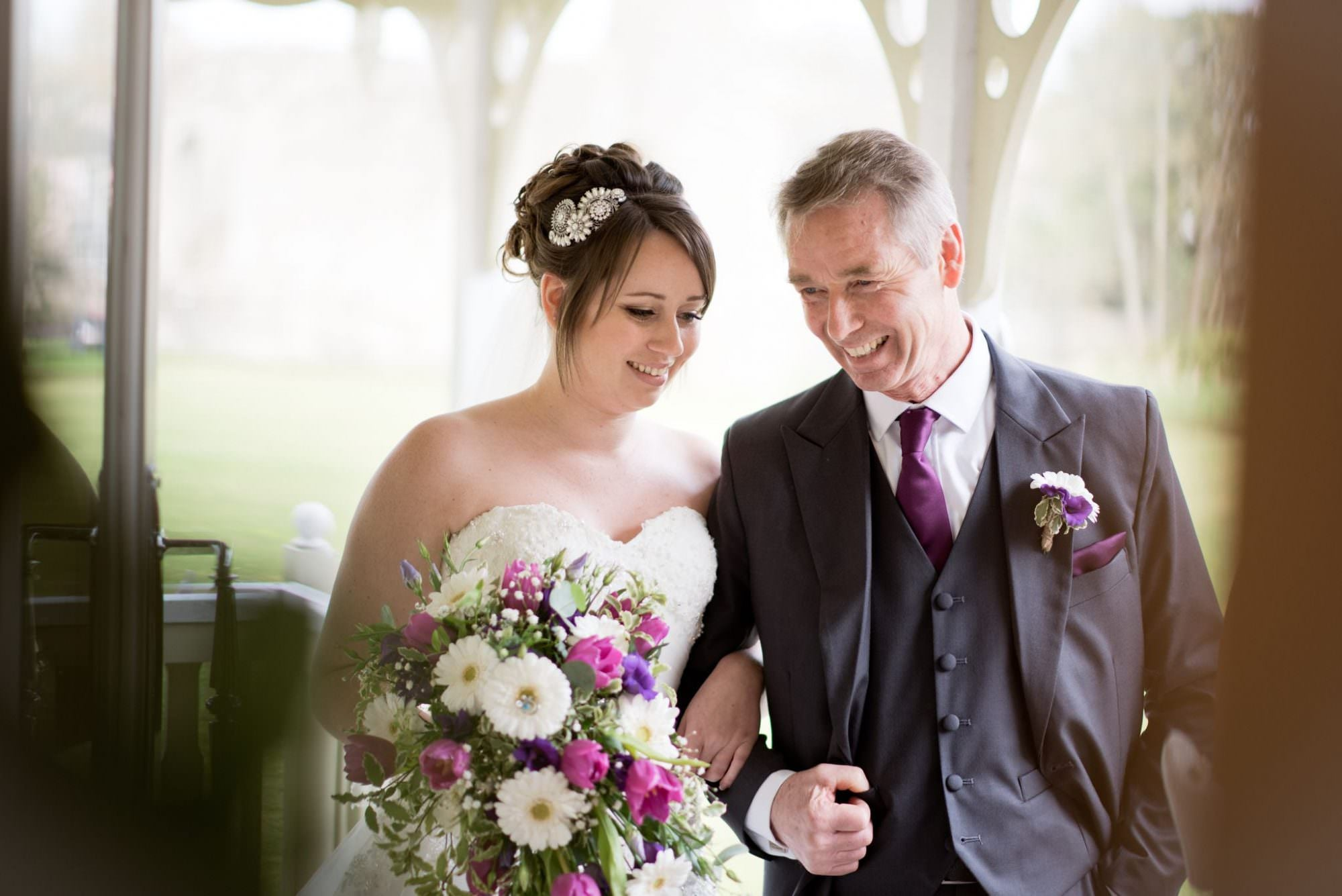 Bride and Father at Christchurch Pavilion