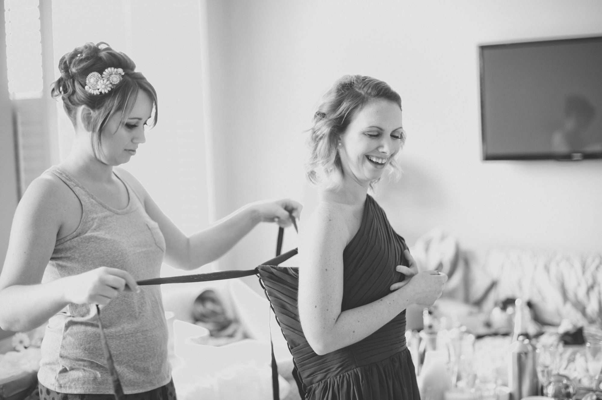 Lace up Bridesmaid dresses at Kings Arms Hotel