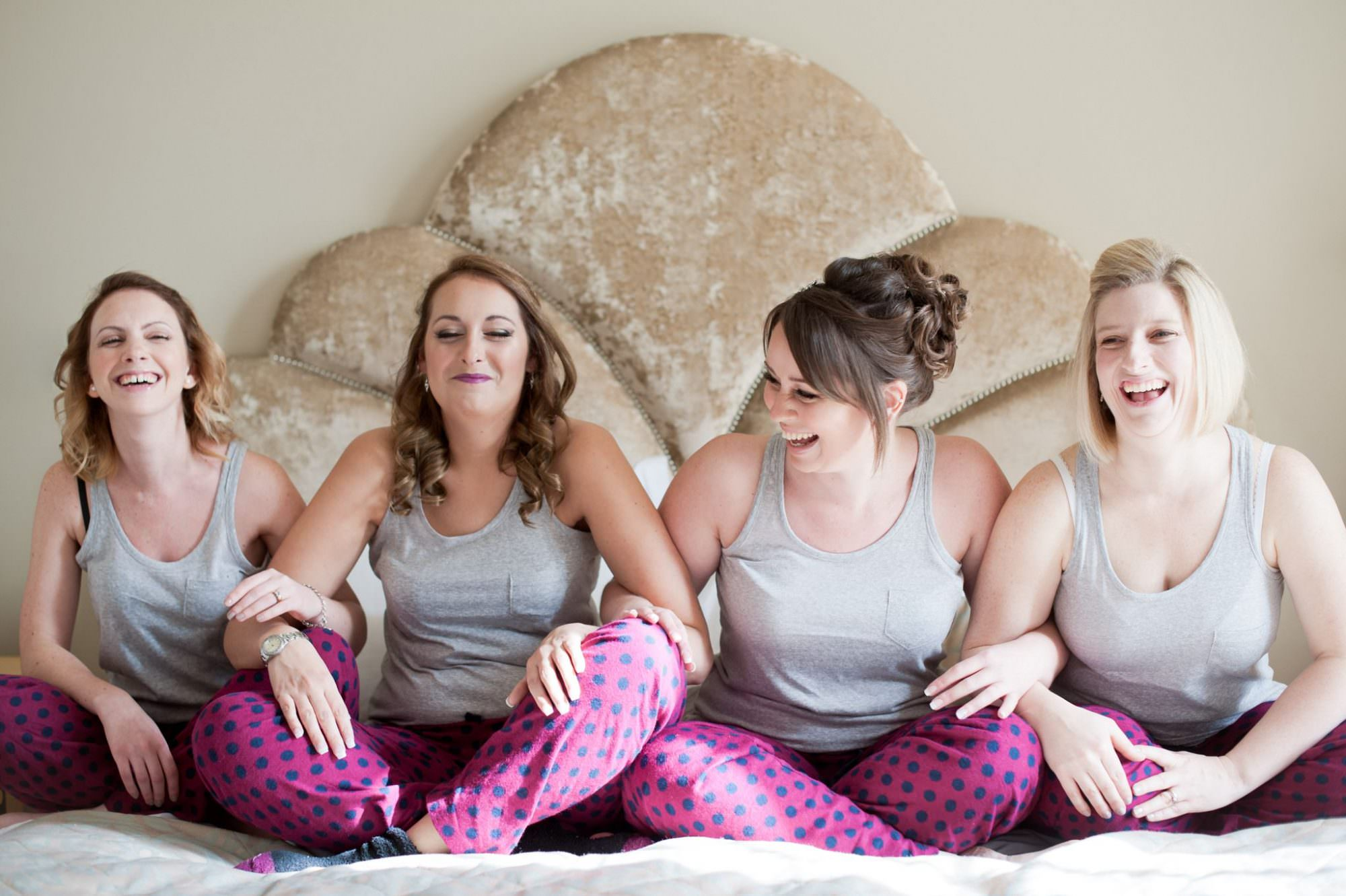 Bridesmaids in pjs at Kings Arms Hotel Wedding