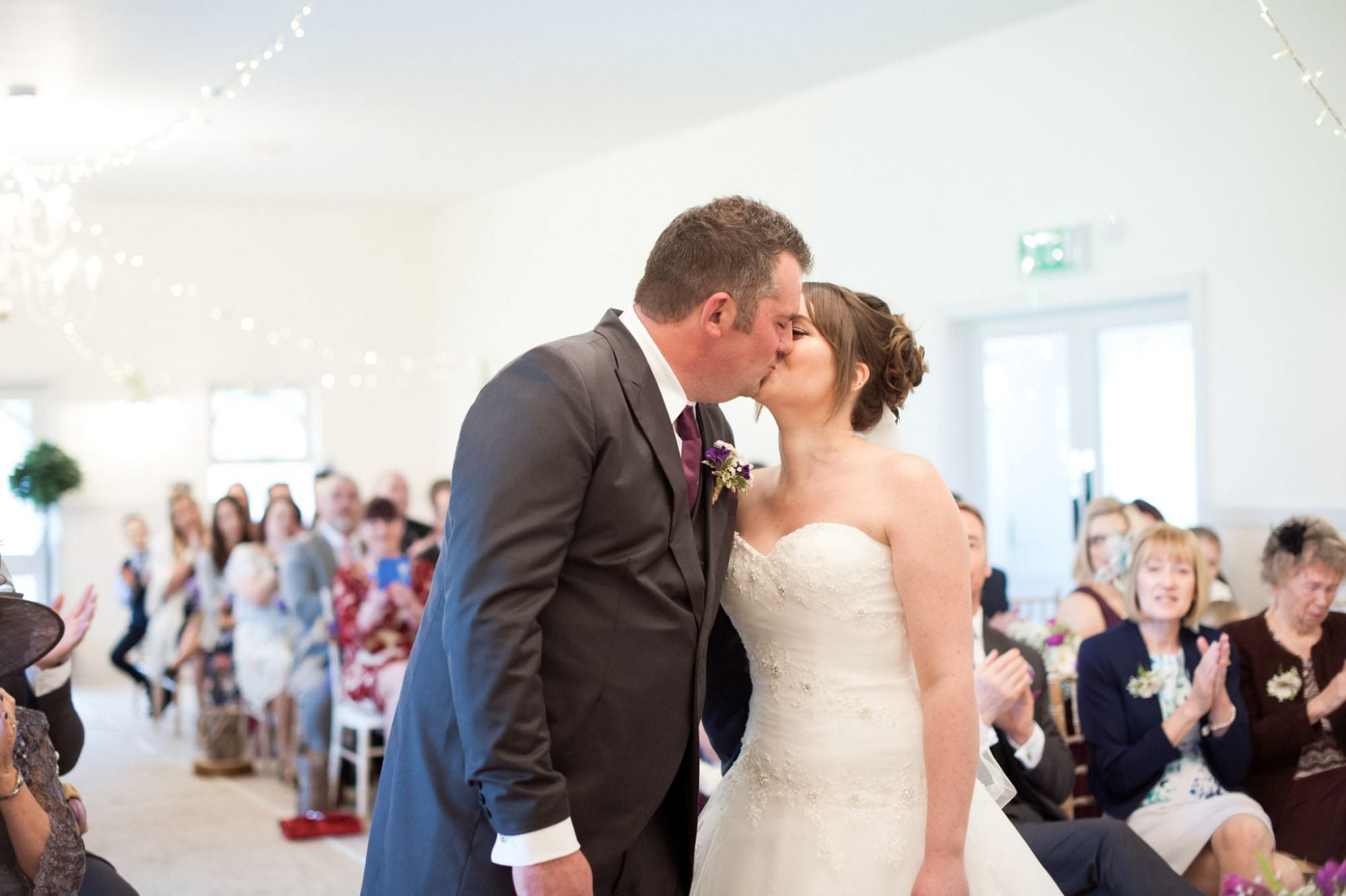First Kiss at Kings Arms Hotel Wedding