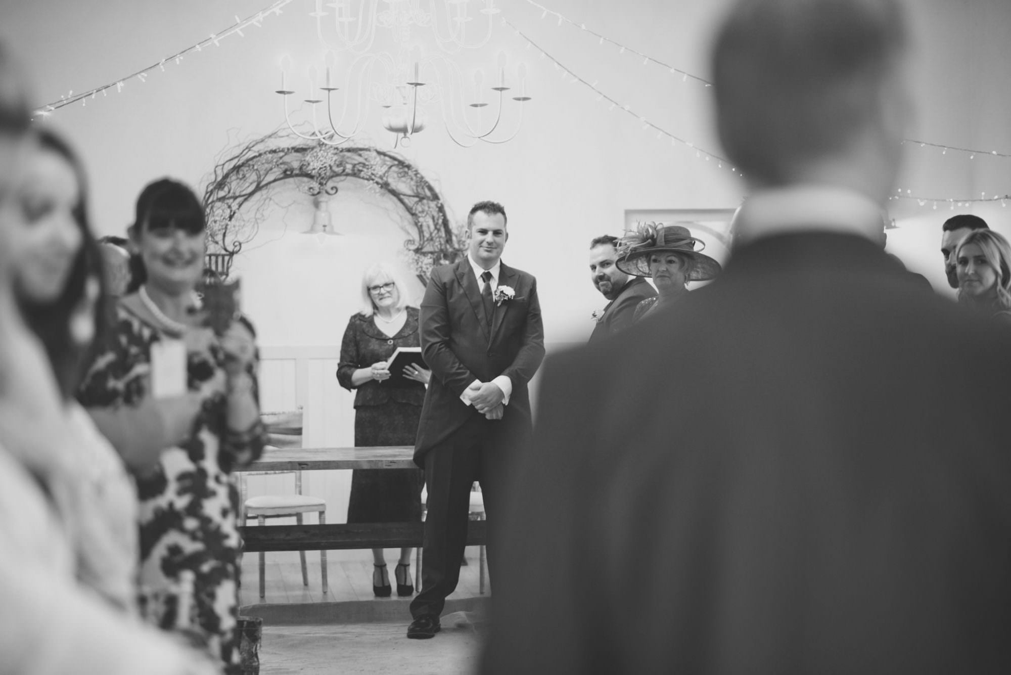 Groom's reaction at Kings Arms Hotel Wedding