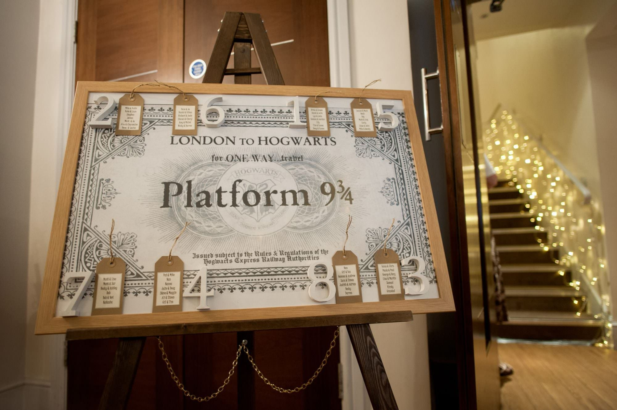 Harry Potter Table Plan at Kings Arms Hotel Wedding