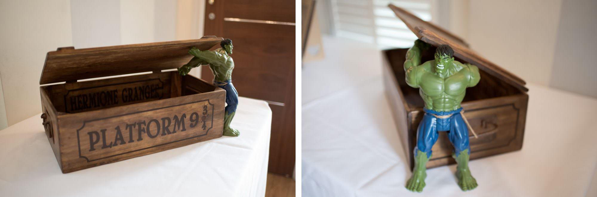 Hulk and Harry Potter Wedding Card