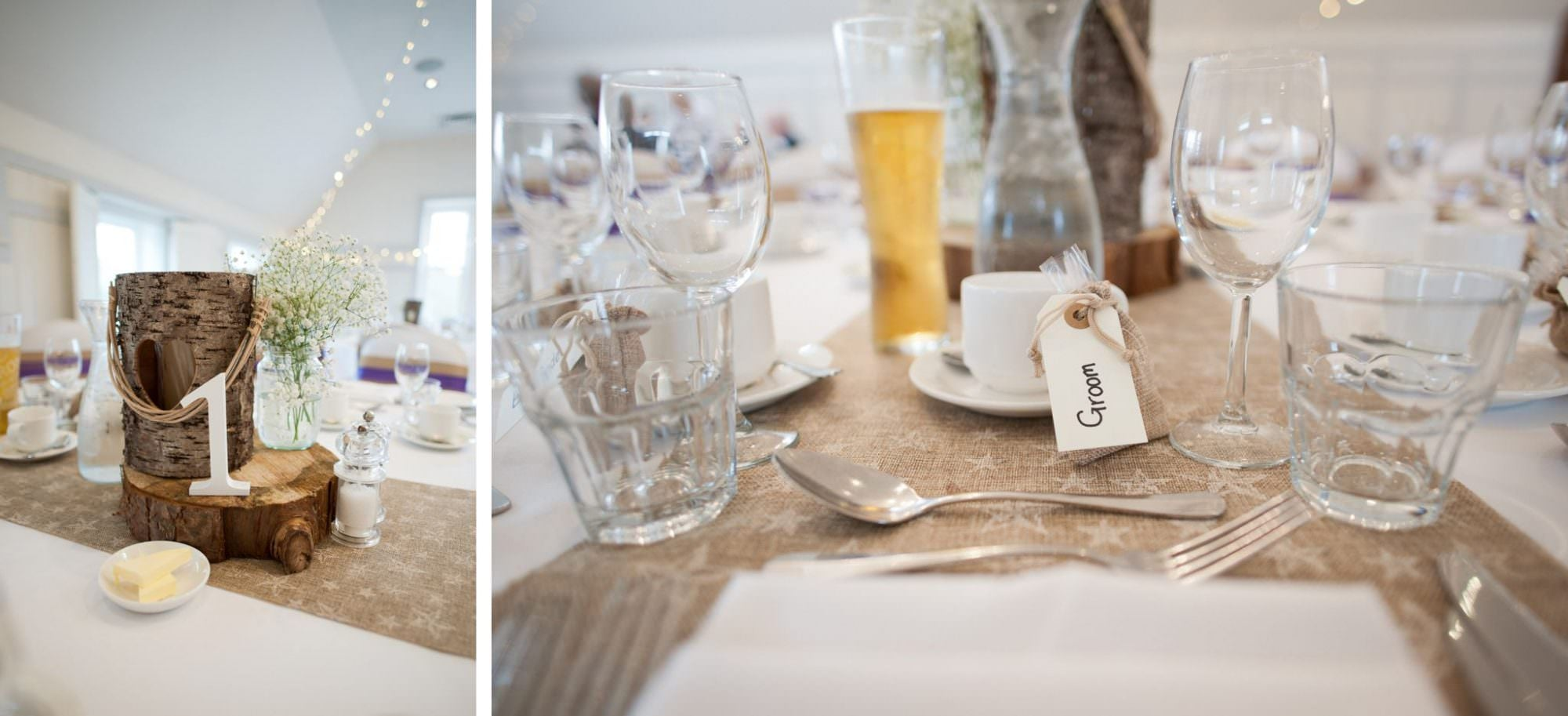 Table Decor at Kings Arms Hotel Wedding