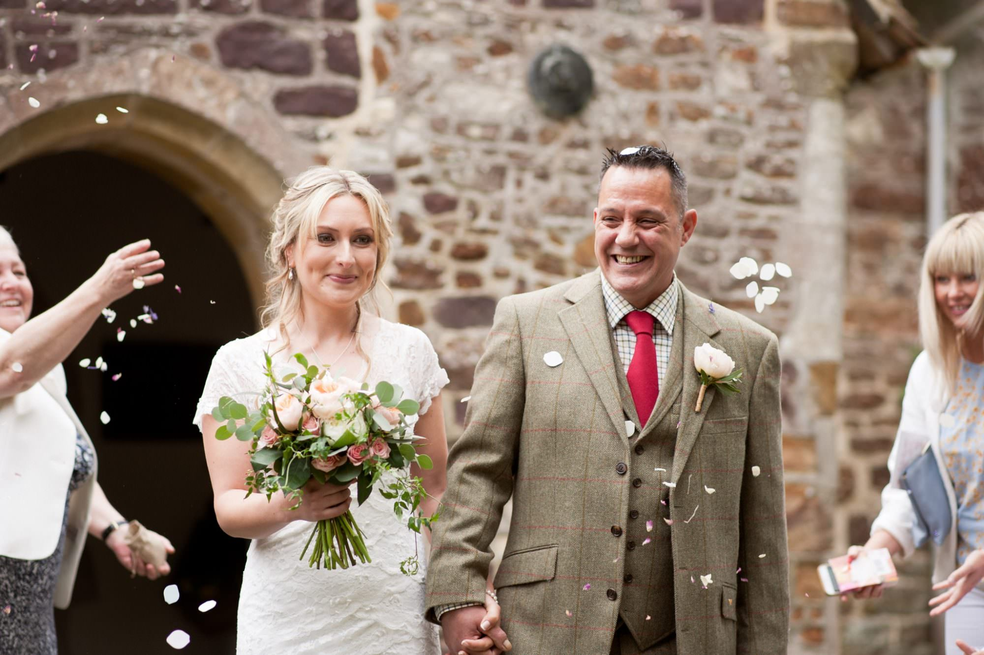 Photography of confetti exit from Sopley Church