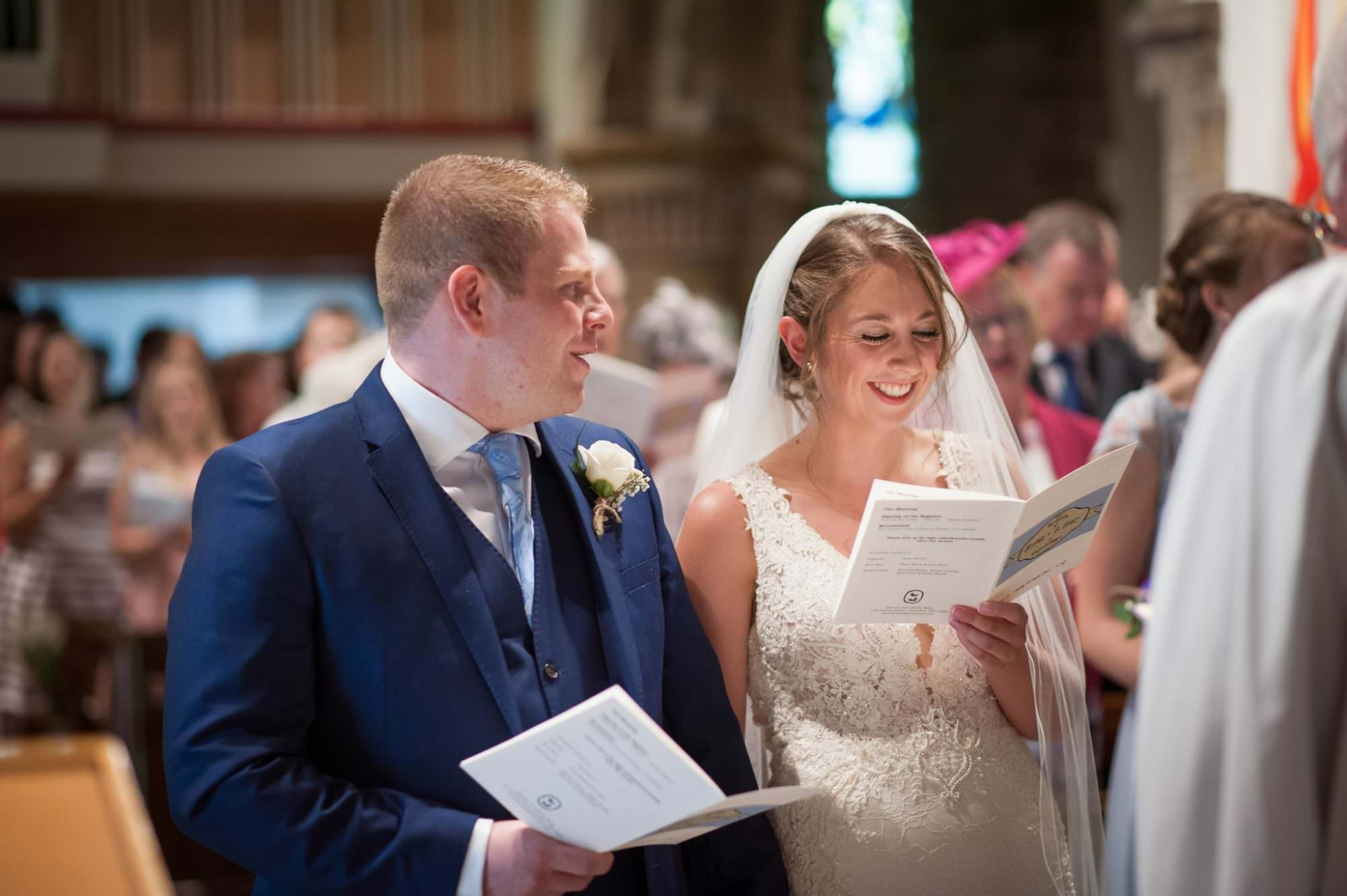 Bride and Groom at Canford magna church wedding