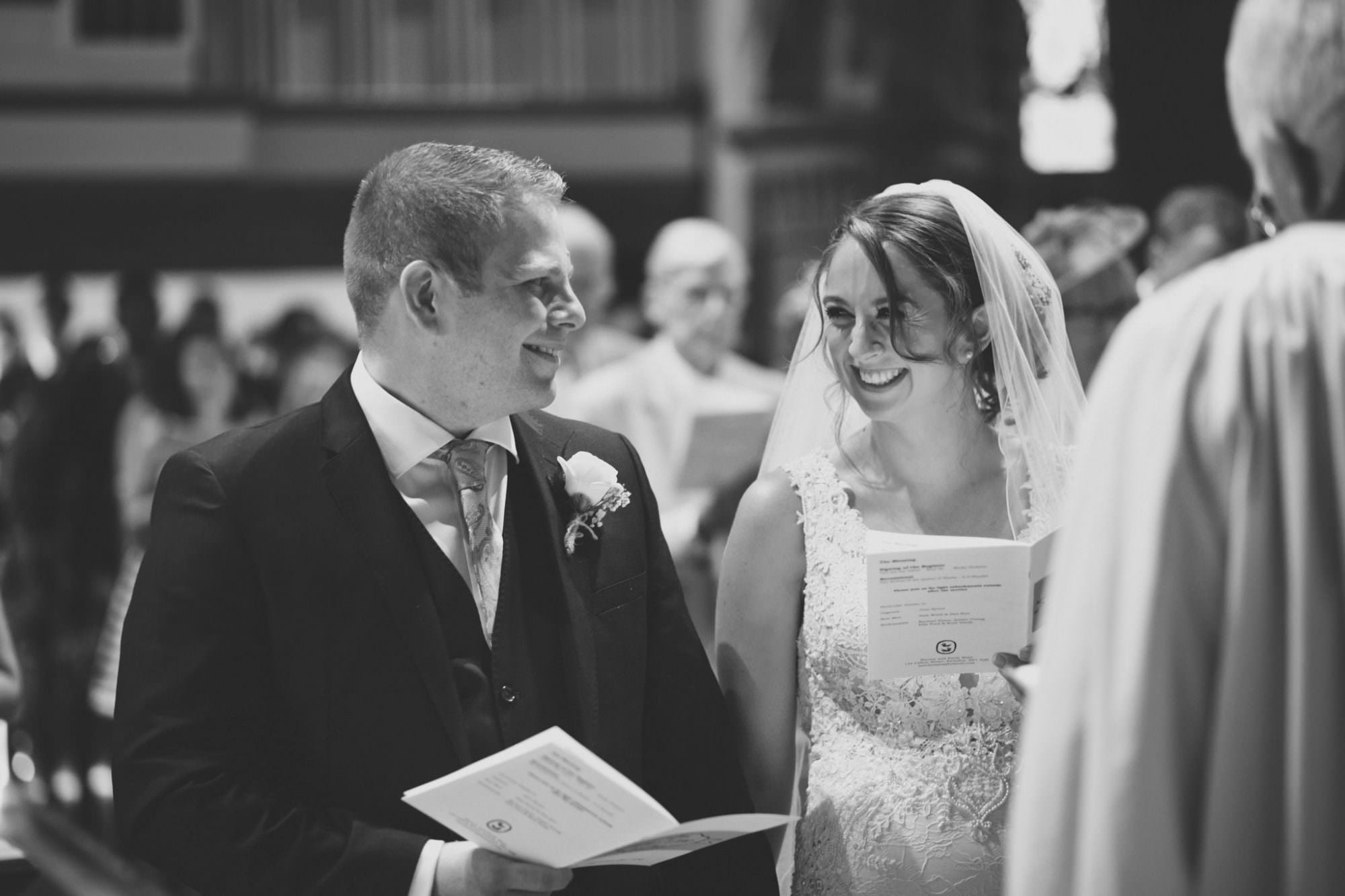 Black and White photography at Canford magna church wedding