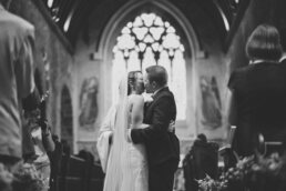 Canford magna church wedding first kiss
