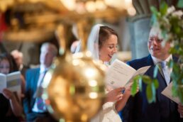 Colourful wedding photography at Canford magna church
