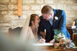 Canford magna church signing wedding register