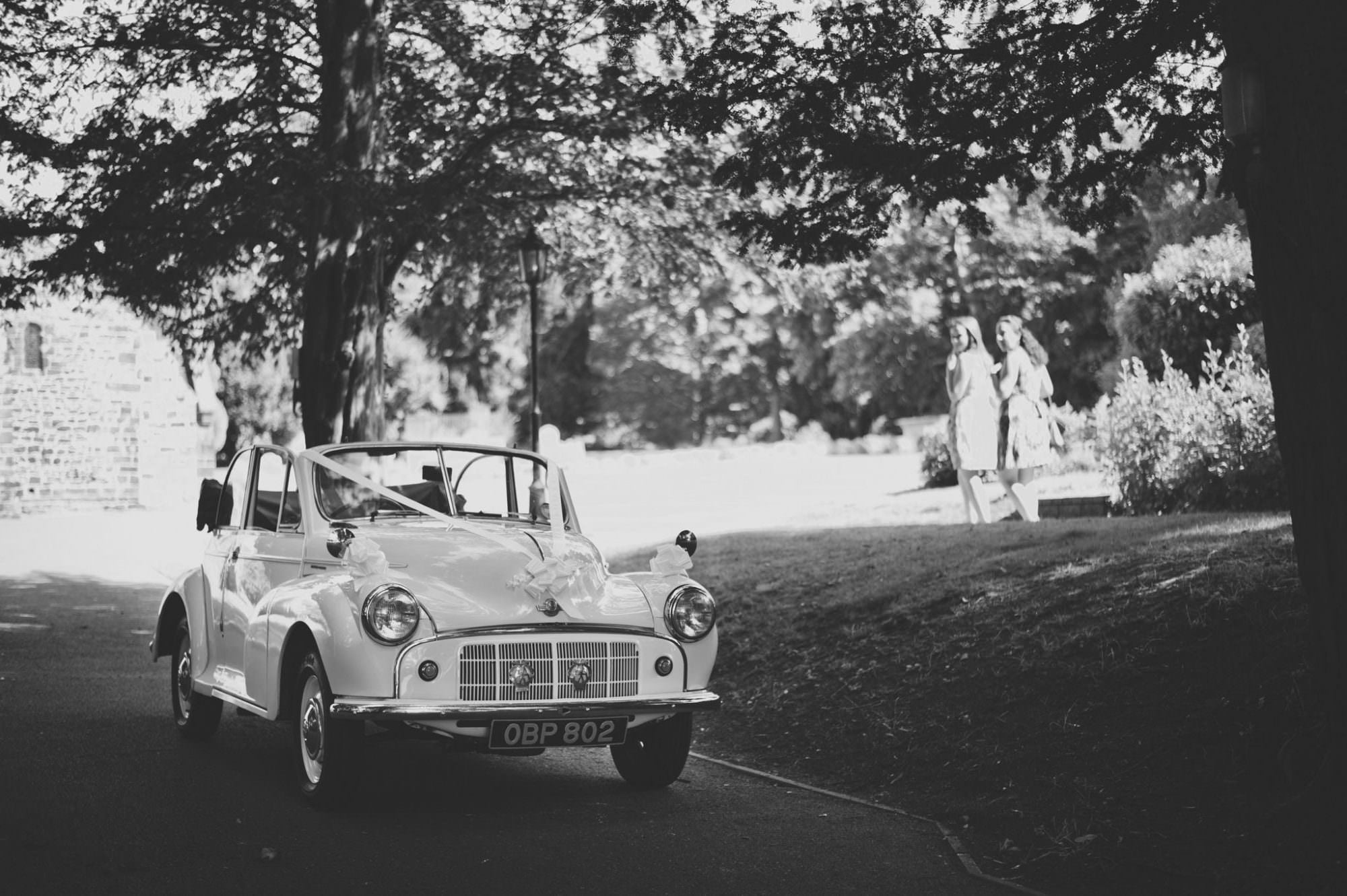 Wedding car at Canford magna church