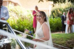 Dorset bride with Morris Minor car
