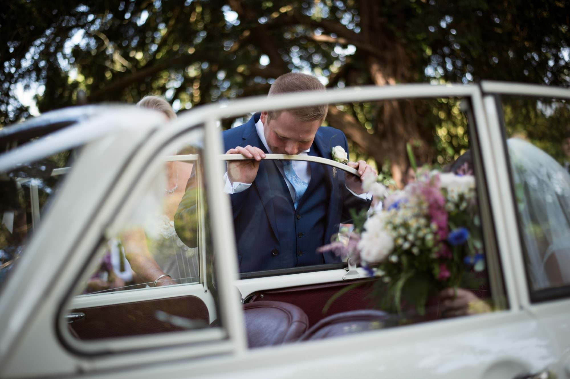 Morris Minor at Dorset Wedding