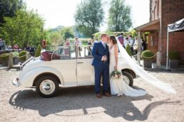 Morris minor at Sopley Mill wedding