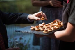 Canapes and catering at Sopley Mill dorset wedding venue