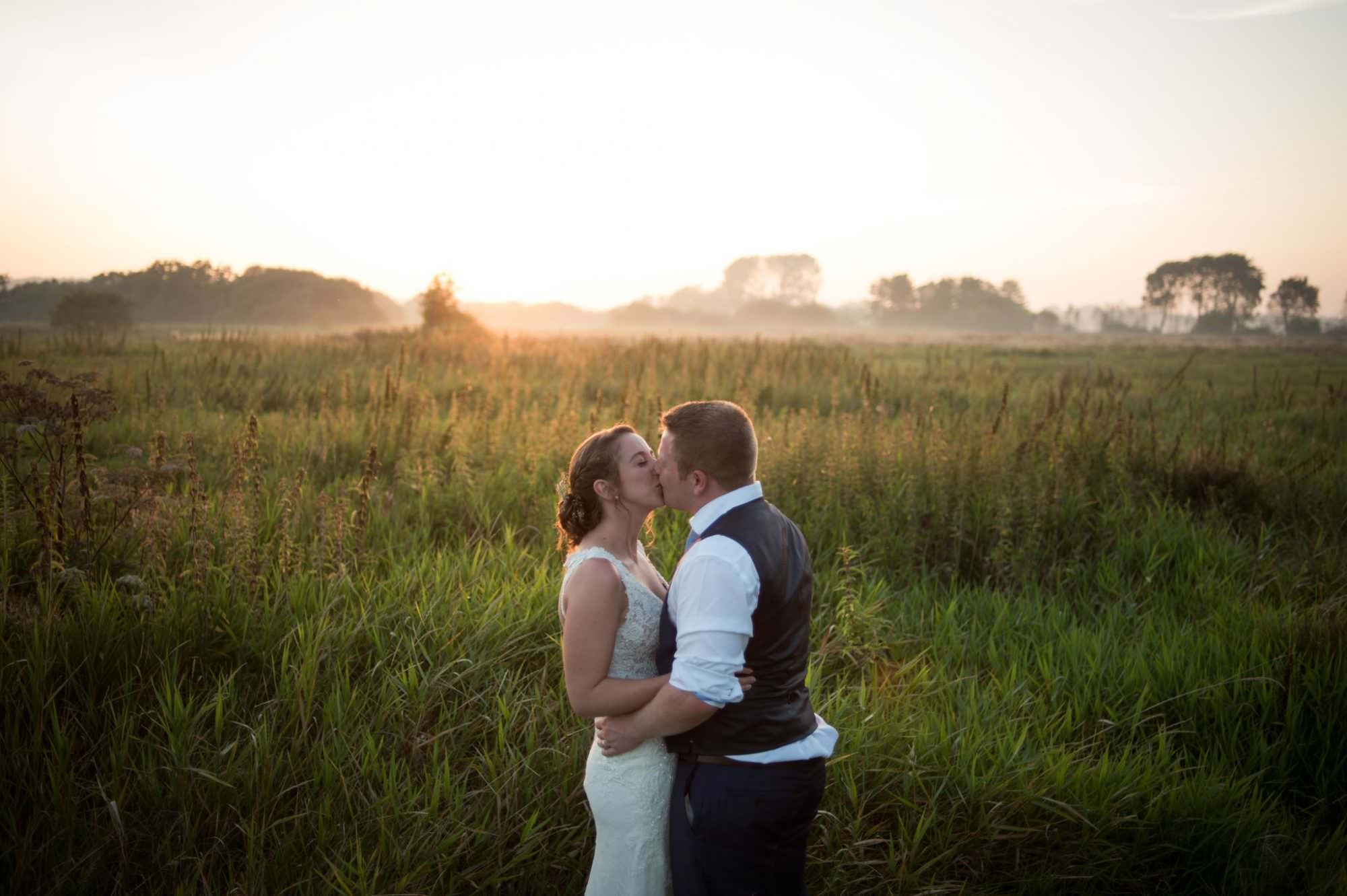 Golden hour wedding photography at Sopley Mill