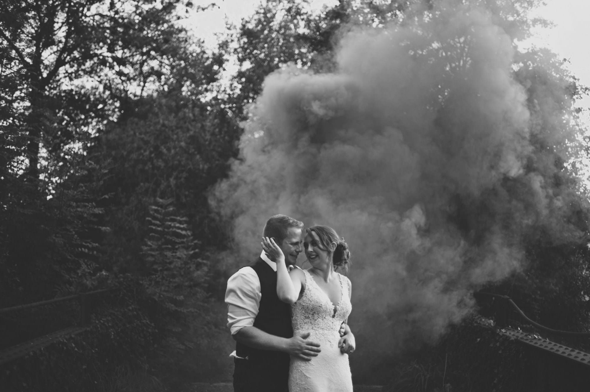 Smoke bomb at Sopley Mill wedding day