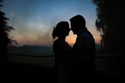 Sunset and smoke at Sopley Wedding