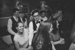 Group dancing at Sopley Mill wedding