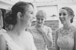 Excited bridesmaids at Canford Church wedding