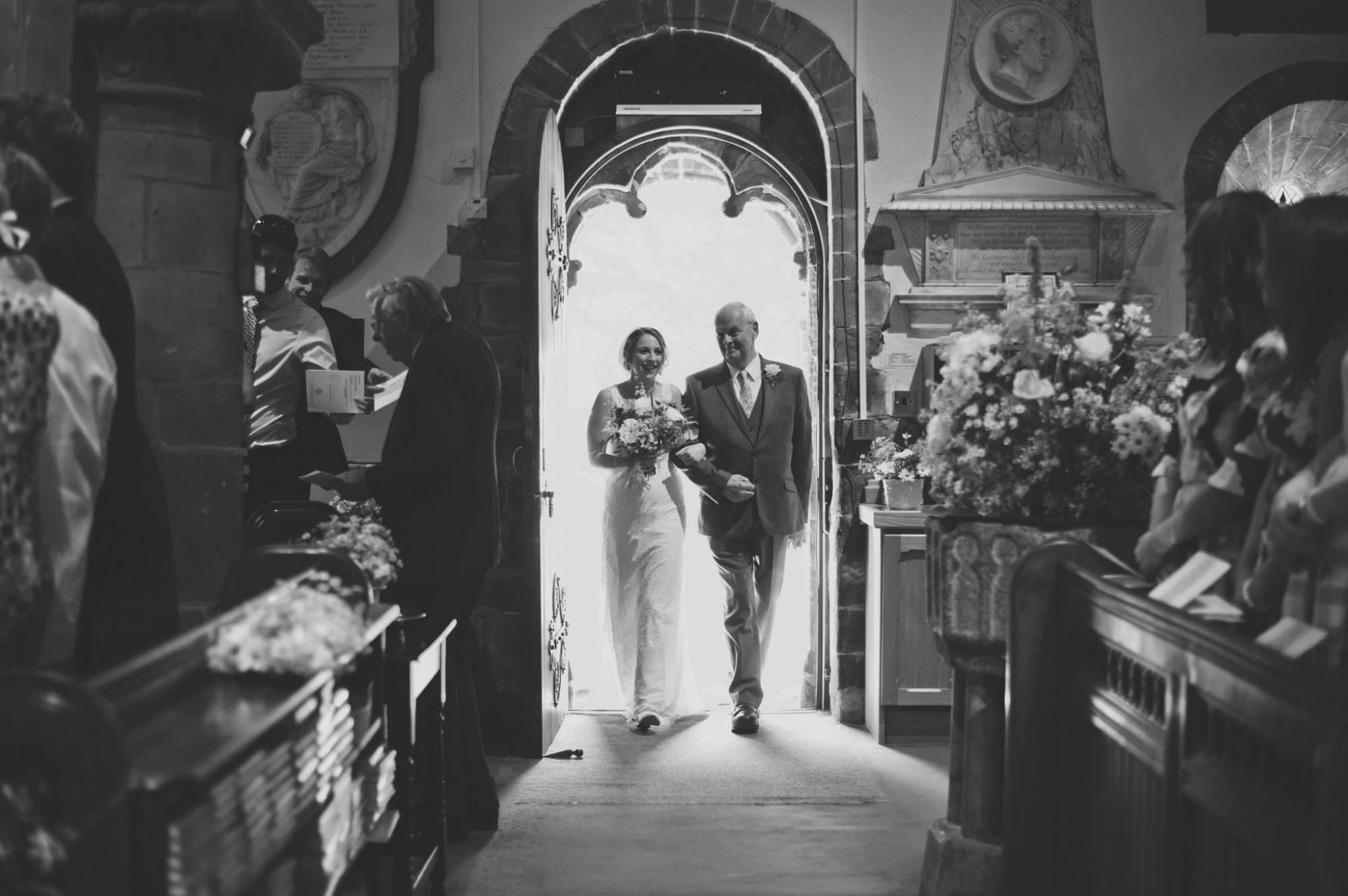 Bride and dad at Canford magna church wedding in dorset