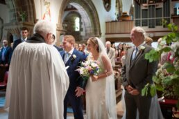 Ceremony at Canford magna church wedding