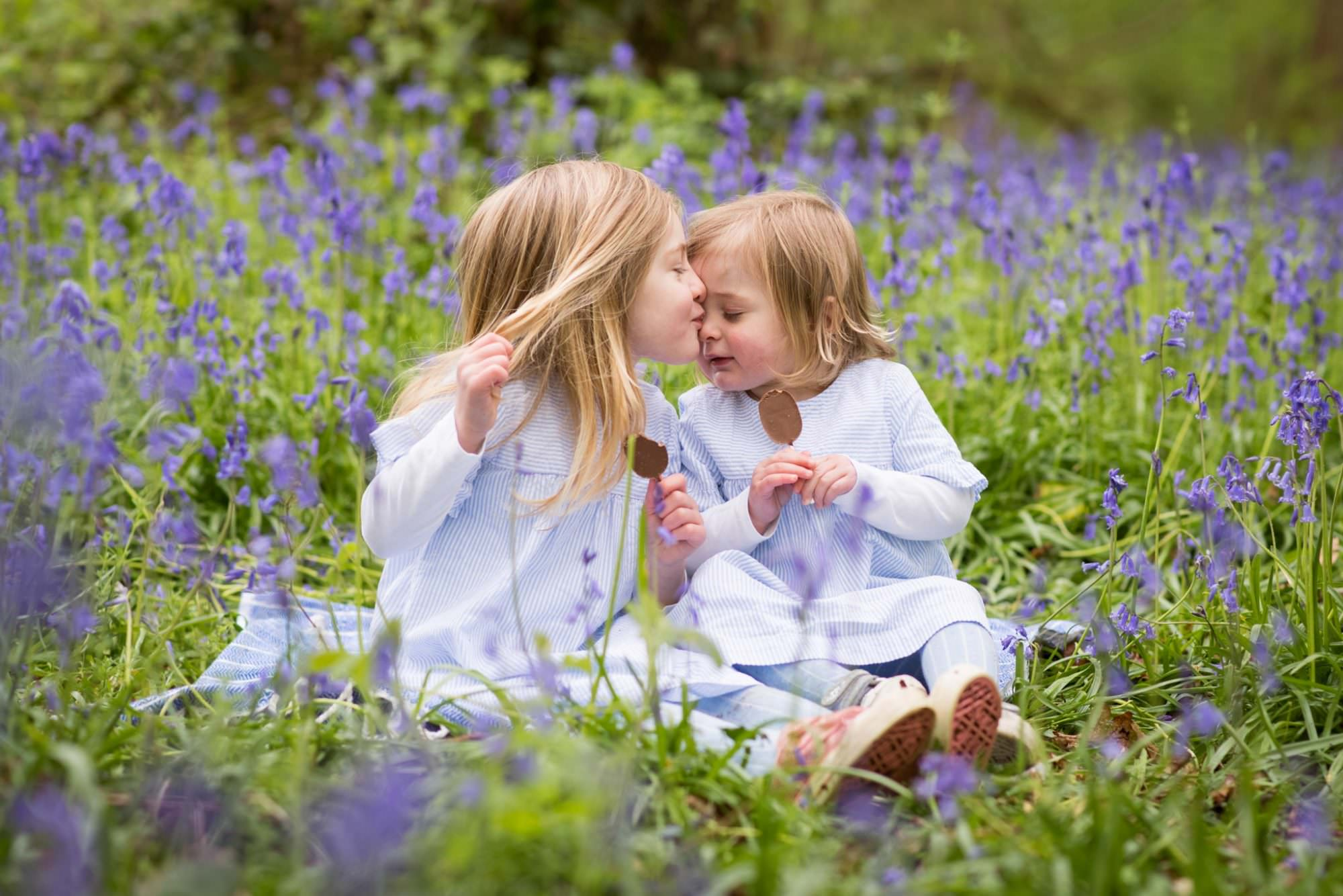 Family photoshoot in bluebells by Dorset Photographer