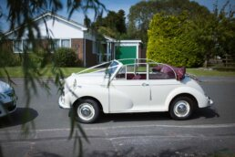 Photograph of Morris Minor Convertible for Dorset Wedding