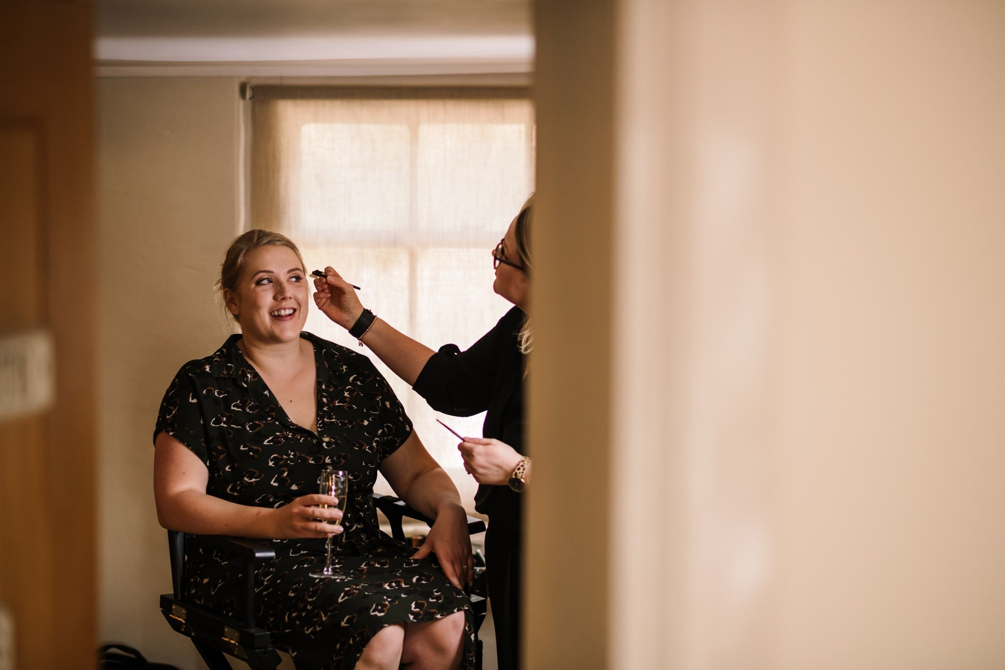 Sopley Mill bride having make up done by Nikki Mullard