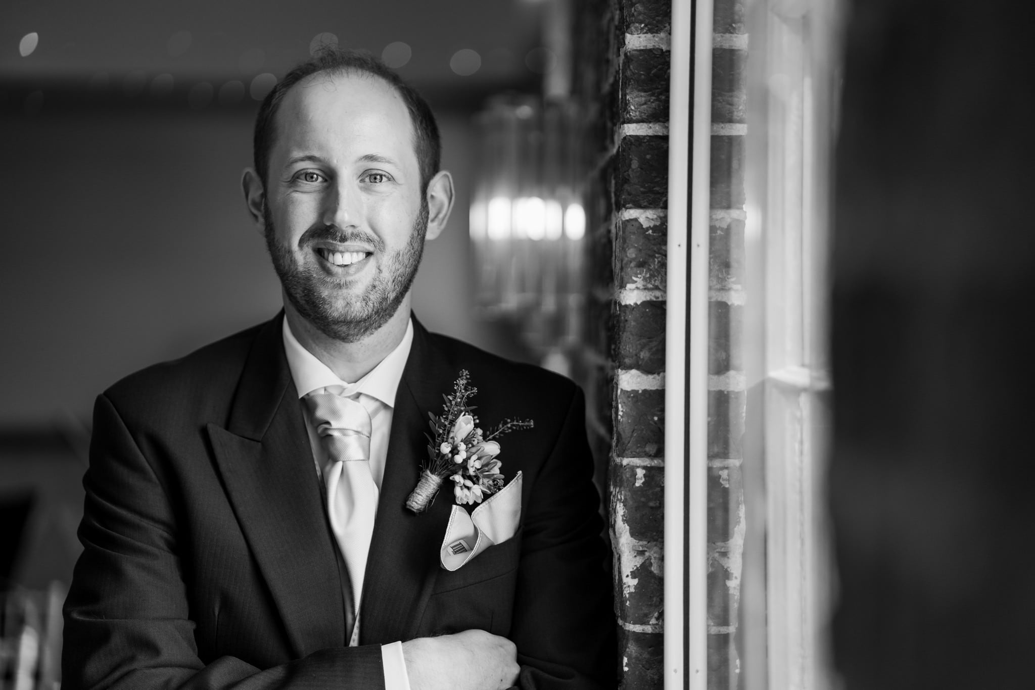 Groom at Sopley Mill spring wedding