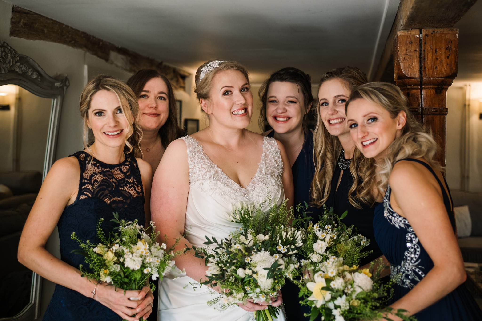 Sopley Mill bride with bridesmaids by Rachel Elizabeth Photography