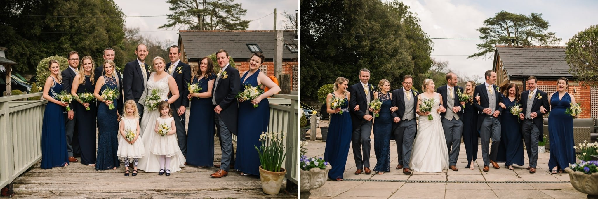 Group photographs at Sopley Mill wedding