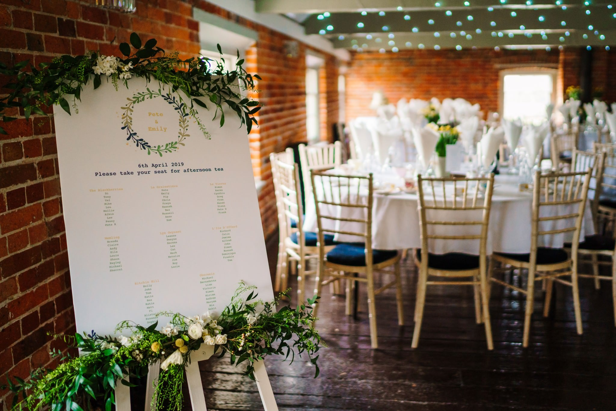 Wedding breakfast decor at Sopley Mill Wedding
