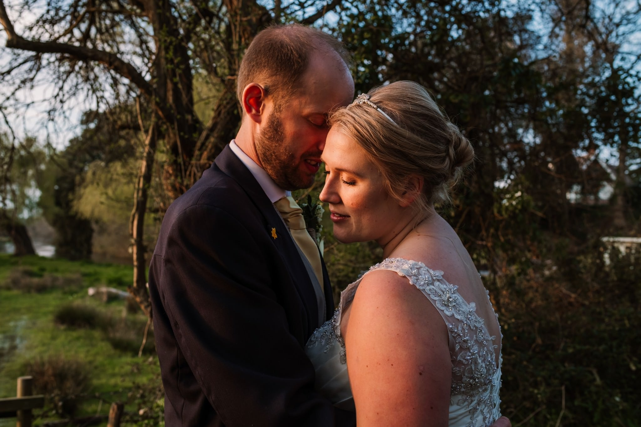 Golden hour photography at Sopley Mill Wedding