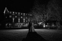 Outdoor night flash photograph at Sopley Mill Wedding